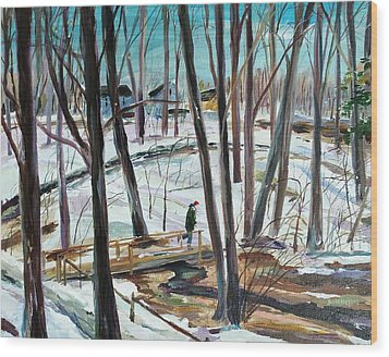 Winter Footbridge Wood Print by Scott Nelson