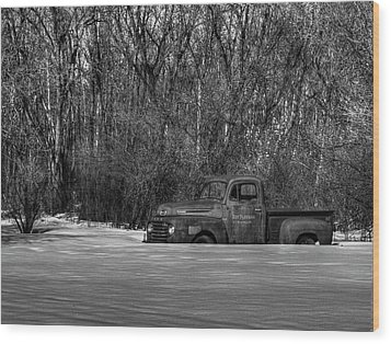 Winter Ford Truck 1 Wood Print by Thomas Young