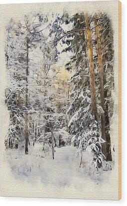 Winter Forest Landscape 44 Wood Print