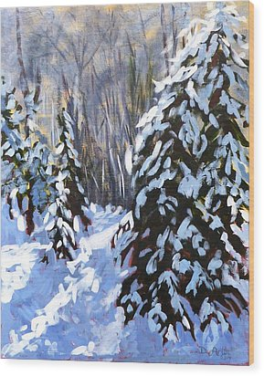 Winter Forest Walk Wood Print