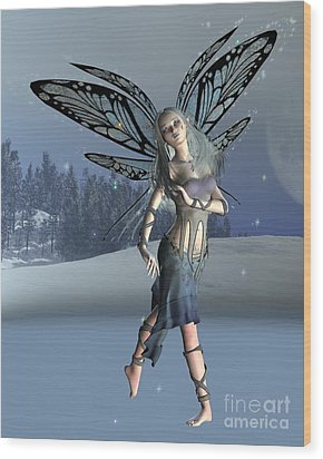 Winter Frost Fairy Wood Print by Fairy Fantasies
