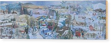 Winter Fun - Sold Wood Print by Judith Espinoza