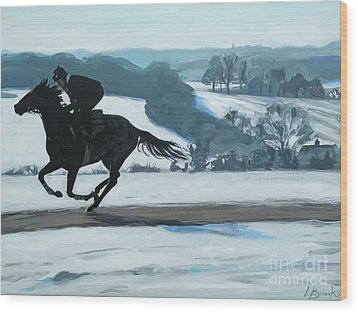 Winter Gallops Wood Print by Leigh Banks