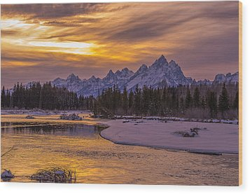 Winter Glow Over The Tetons Wood Print