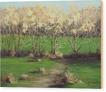 Winter Greens Wood Print by Karen Ilari