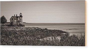 Winter Harbor Lighthouse Wood Print by Wayne Meyer