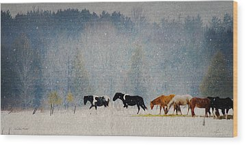 Wood Print featuring the photograph Winter Horses by Ann Lauwers