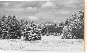 Winter House On The Prairie Wood Print by John Hix