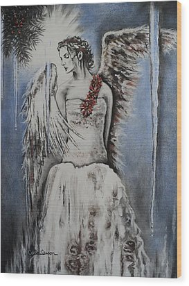 Winter Ice Angel Wood Print by Carla Carson