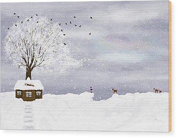 Winter Illustration Wood Print