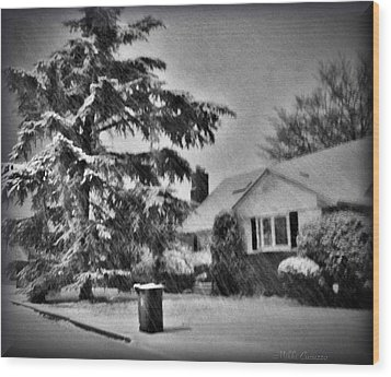 Winter In Black And White Wood Print by Mikki Cucuzzo