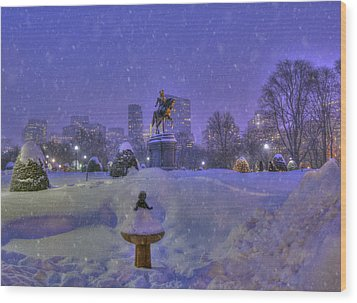 Winter In Boston - George Washington Monument - Boston Public Garden Wood Print by Joann Vitali