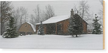 Winter In Galena Wood Print by Gary Lobdell