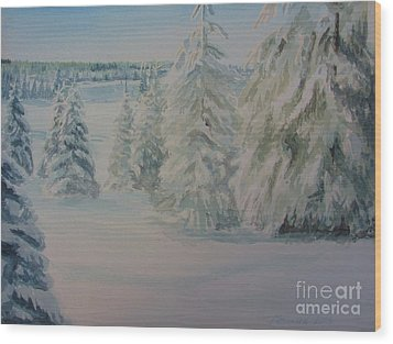 Wood Print featuring the painting Winter In Gyllbergen by Martin Howard