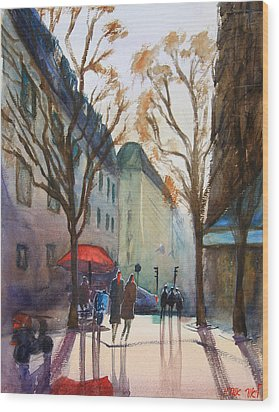 Winter In Paris Wood Print by Lior Ohayon