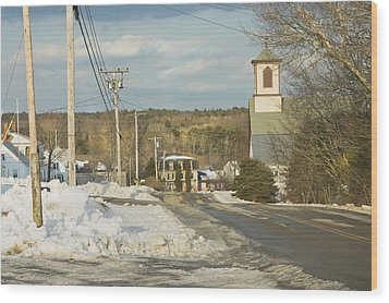 Winter In Round Pond Maine Wood Print by Keith Webber Jr