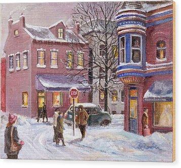 Winter In Soulard Wood Print by Edward Farber