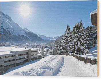 Winter In St. Moritz  Wood Print by Design Windmill