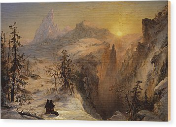 Winter In Switzerland Wood Print by Jasper Francis Cropsey