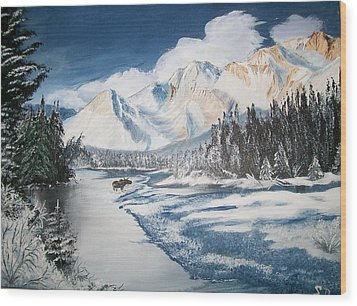 Wood Print featuring the painting Winter In The Canadian Rockies by Sharon Duguay