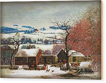 Wood Print featuring the digital art Winter In The Country Folk Art by Lianne Schneider