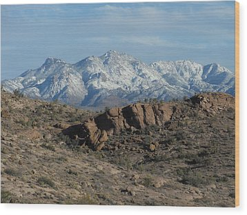 Winter In The  Mohave Desert Wood Print
