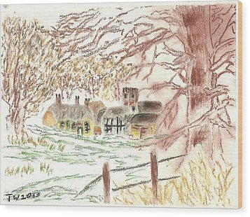 Winter In The Village Wood Print