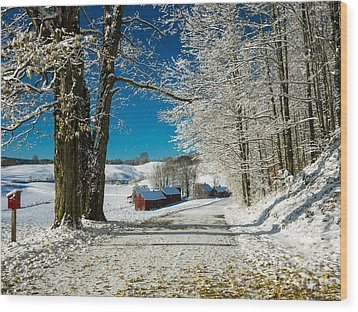 Winter In Vermont Wood Print by Edward Fielding