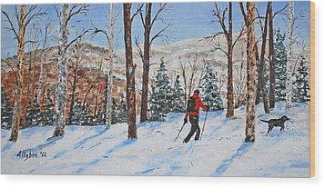 Winter In Vermont Woods Wood Print