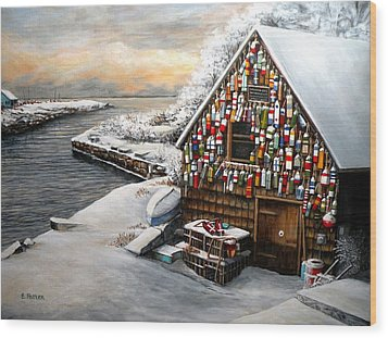 Winter Ipswich Bay Wooden Buoys  Wood Print