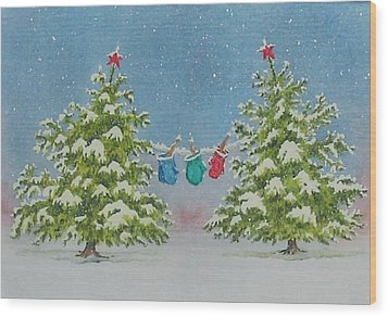 Wood Print featuring the painting Winter Is Fun by Mary Ellen Mueller Legault