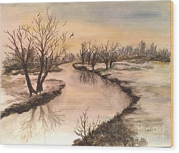 Winter Lake Scene Wood Print by Lucia Grilletto