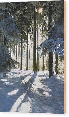 Winter Landscape Wood Print by Aged Pixel