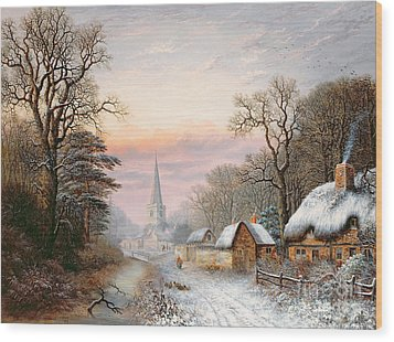 Winter Landscape Wood Print by Charles Leaver