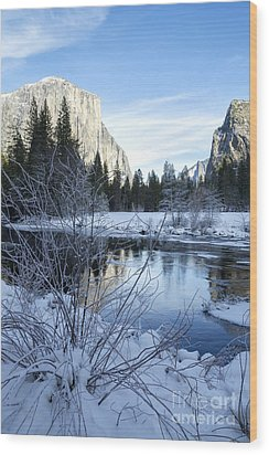 Winter Landscape In Yosemite California Wood Print by Julia Hiebaum
