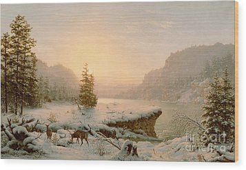 Winter Landscape Wood Print by Mortimer L Smith