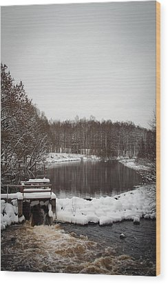 Winter Landscape Wood Print by Robert Hellstrom