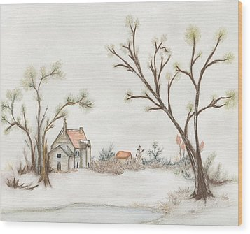 Winter Landscape With Cottage II Wood Print by Christine Corretti