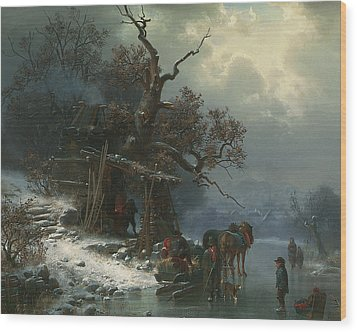 Winter Landscape With Figures On A Frozen River Wood Print by Heinrich Hofer