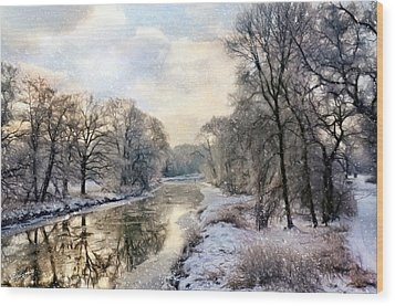 Winter Landscape With River Wood Print by Gynt