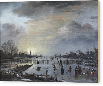 Wood Print featuring the painting Winter Landscape With Skaters by Gianfranco Weiss