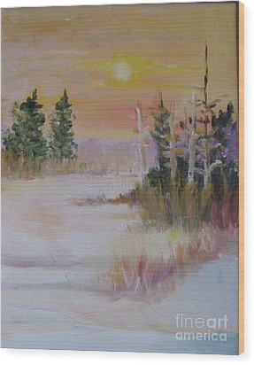 Wood Print featuring the painting Winter Light by Julie Todd-Cundiff