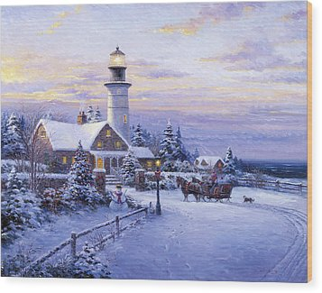 Winter Lighthouse Wood Print by Ghambaro