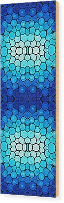 Winter Lights - Blue Mosaic Art By Sharon Cummings Wood Print by Sharon Cummings