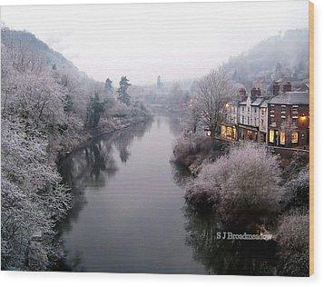 Winter Lights In Ironbridge Wood Print