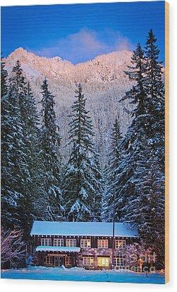 Winter Lodging Wood Print by Inge Johnsson