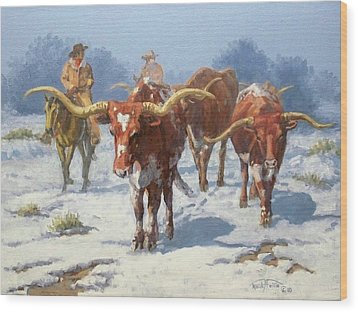 Winter Longhorns Wood Print by Randy Follis
