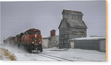 Winter Mixed Freight Through Castle Rock Wood Print by Ken Smith