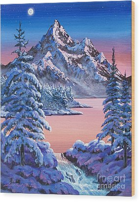 Winter Moon Wood Print by David Lloyd Glover