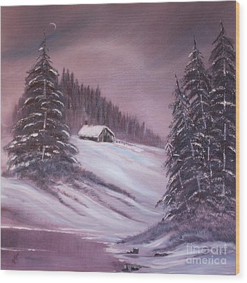 Wood Print featuring the painting Winter Moon by Janice Rae Pariza